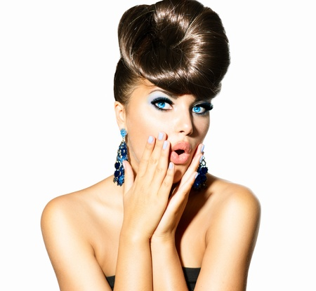 Fashion Model Girl Portrait with Blue Eyes  Creative Hairstyle photo