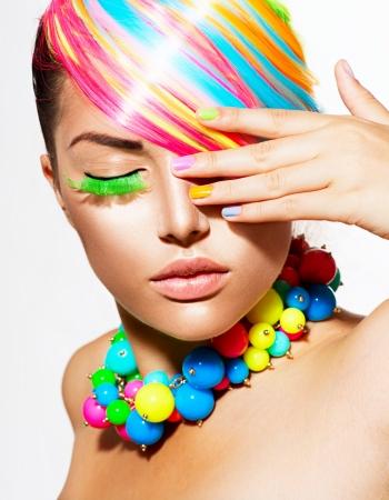 Beauty Girl Portr�t mit bunten Make-up, Haar-und Zubeh�r Lizenzfreie Bilder