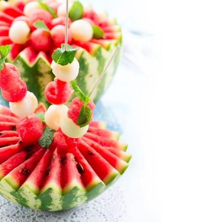 refreshment: Watermelon  Fresh and Ripe Watermelon and Melon Balls  Stock Photo