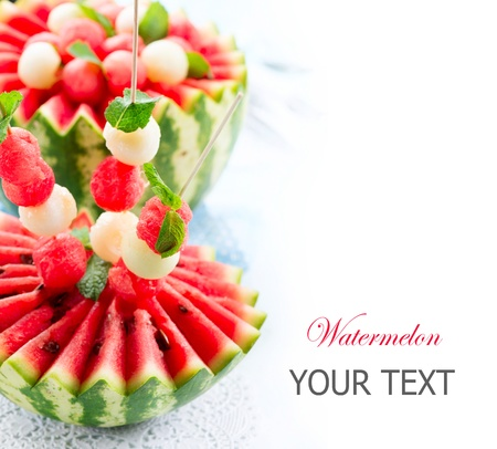 fruity salad: Watermelon  Fresh and Ripe Watermelon and Melon Balls  Stock Photo