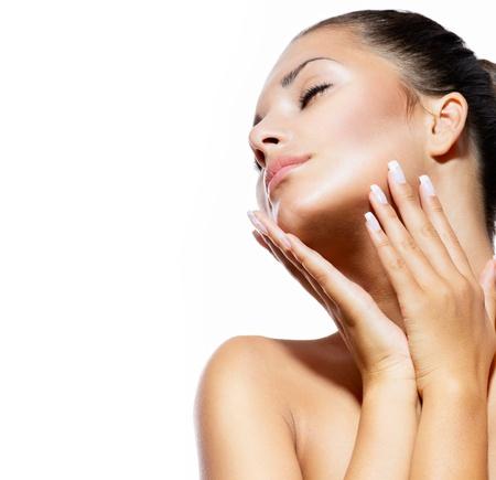 perfil de mujer rostro: Belleza Retrato hermoso balneario Mujer tocando la cara