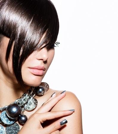 ファッション: ファッション モデル女の子肖像画のトレンディなヘア スタイル 写真素材