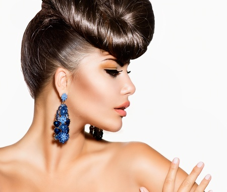 earring: Fashion Model Girl Portrait  Creative Hairstyle