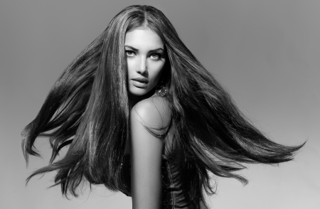 Black and White Fashion Model Girl Portrait with Blowing Hair Stock Photo - 21563928