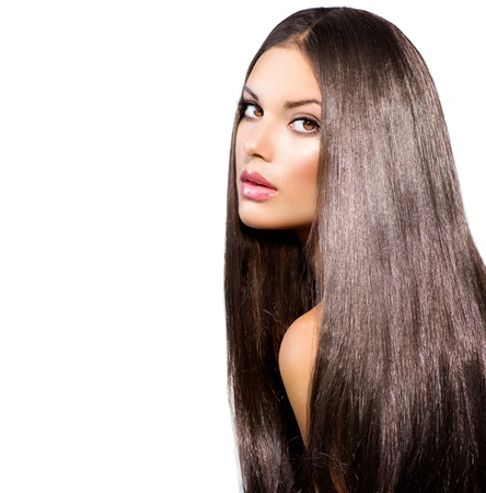 tratamiento capilar: Largo sano del pelo recto Modelo Brunette Girl Portrait Foto de archivo