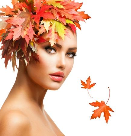 fall colors: Autumn Woman Fashion Portrait  Fall  Stock Photo