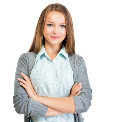 Zelfverzekerd Portret van de tiener Pretty Studentenmeisje Stockfoto