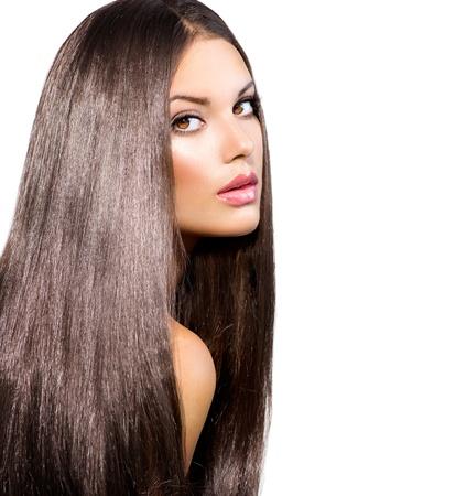 Lange Gesundes Glattes Haar Modell Brunette Girl Portrait Standard-Bild - 21564539