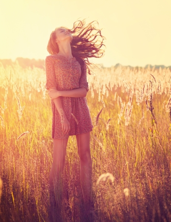 casual wear: Beauty Romantic Girl Outdoors Stock Photo