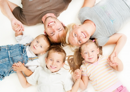 family of five: Happy Big Family Together on White Background