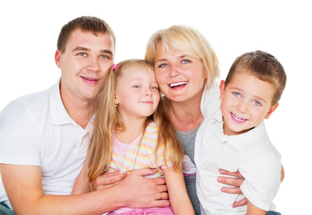 Happy Big Family Together on White Background  photo