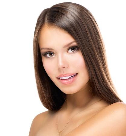 brown eyes: Beauty Girl Cara Hermosa adolescente Modelo de la muchacha Retrato Foto de archivo