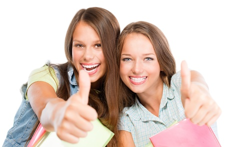 Students Portrait  Cute Attractive Teenage Girls Holding Books