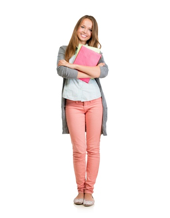Student Girl Full Length Portrait  Teenage Girl Holding Books