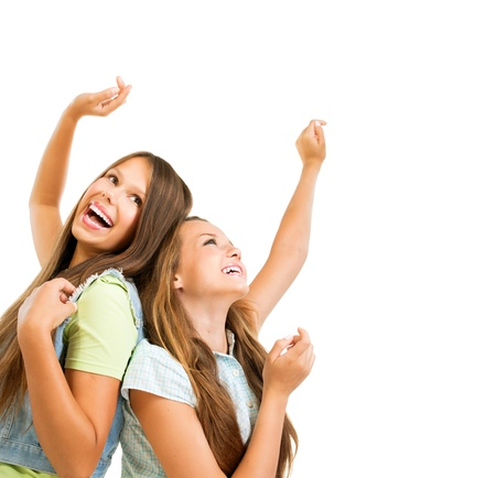 friends happy: Happy Teenage Girls Dancing  Beauty Teenagers Having Fun