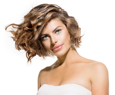 Beauty Young Woman Portrait over White  Short Curly Hair  Stok Fotoğraf