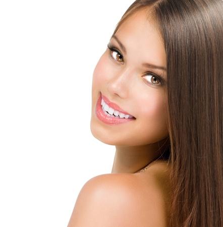 s úsměvem: Beauty Girl Face Krásná dospívající Model dívka portrét