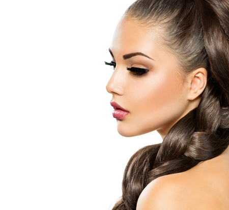 braids: Hair Braid  Beautiful Woman with Healthy Long Hair