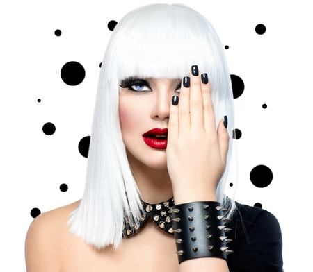 manicures: Fashion Beauty Model Girl  Punk Style Woman isolated on White