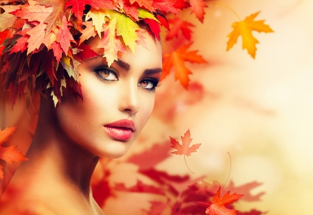 Autumn Woman Portrait  Beauty Fashion Model Girl