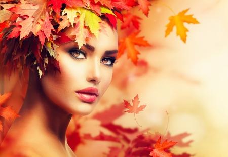 Herbst-Frau Portrait Beauty Fashion Model Mädchen Standard-Bild - 21976947