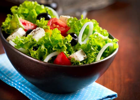 green salad: Mediterranean Salad with Feta Cheese, Tomatoes and Olives