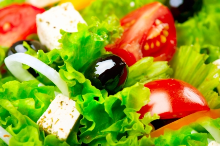Greek Salad Mediterranean Salad with Feta Cheese, Tomatoes and Olives