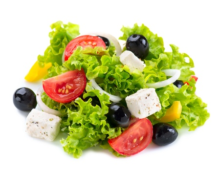 Griekse salade met feta kaas, tomaten en olijven Stockfoto