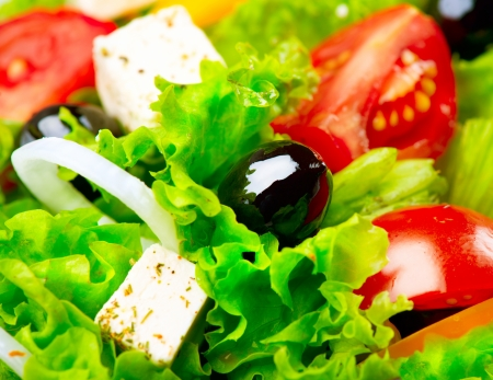 nutritious: Greek Salad  Mediterranean Salad with Feta Cheese, Tomatoes and Olives