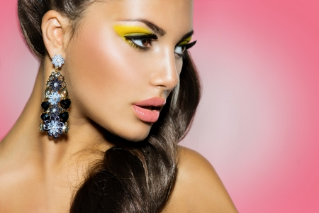 eye lashes: Fashion Model Girl over Pink Background  Creative Makeup