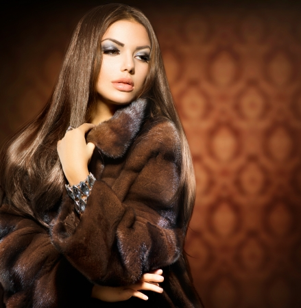 мода: Красота Мода Модель Девушка в норки Шуба