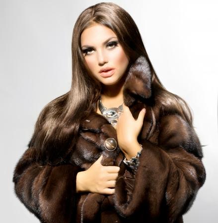 Beauty Fashion Model Girl in Mink Fur Coat  photo