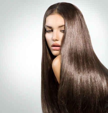 shiny hair: Long Healthy Straight Hair  Model Brunette Girl Portrait