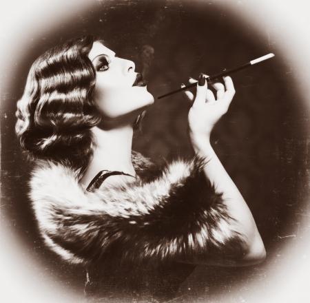 silent film: Smoking Retro Woman  Vintage Styled Black and White Photo  Stock Photo