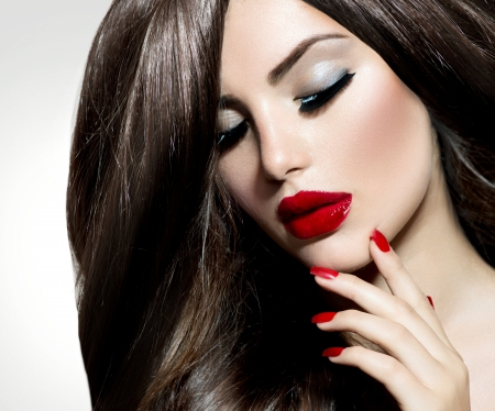 nails: Sexy Beauty Girl with Red Lips and Nails  Provocative Make up