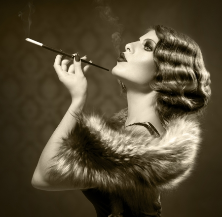 Smoking Retro Woman  Vintage Styled Black and White Photo  Banco de Imagens