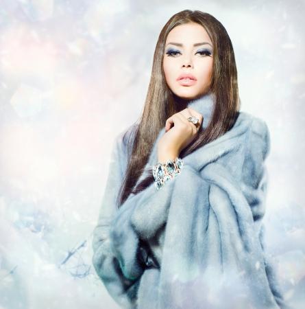 mink: Beauty Fashion Model Girl in Blue Mink Fur Coat