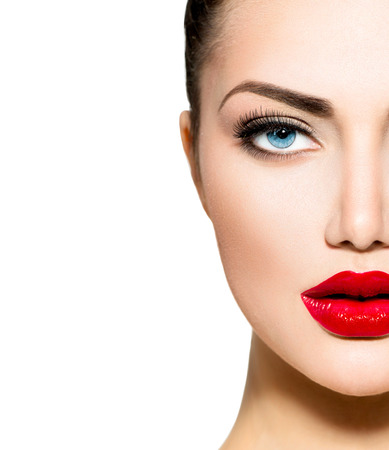 female face closeup: Beauty Portrait  Professional Makeup for Brunette with Blue eyes Stock Photo
