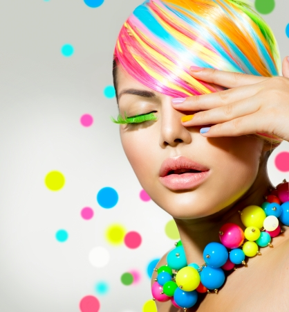 false eyelashes: Beauty Girl Portrait with Colorful Makeup, Nails and Accessories  Stock Photo