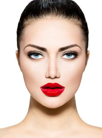 青い目ブルネットの美しさの肖像画プロ メイク