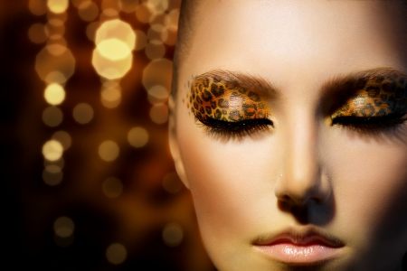 유행: 휴일 표범 메이크업 뷰티 패션 모델 소녀 스톡 콘텐츠