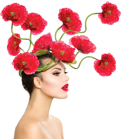 hair: Beauty Fashion Model Woman with Red Poppy Flowers in her Hair