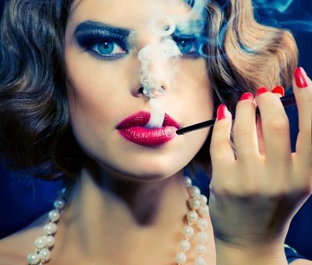 Smoking Retro Woman Portrait  Beauty Girl with Mouthpiece