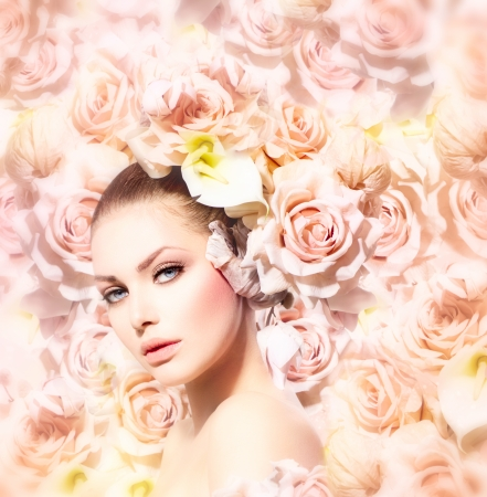 beauty model: Fashion Beauty Model Girl with Flowers Hair  Bride