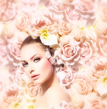 moda: Moda Beleza Garota Modelo com flores da noiva cabelo