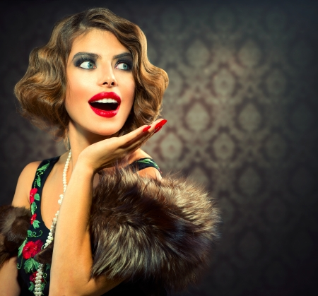 'retro styled': Retro Woman Portrait  Surprised Lady  Vintage Styled Photo  Stock Photo