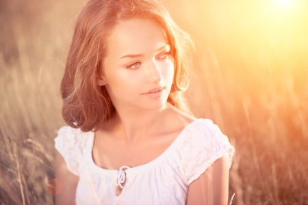 backlights: Beauty Romantic Girl Outdoors  Teenage Model  Stock Photo