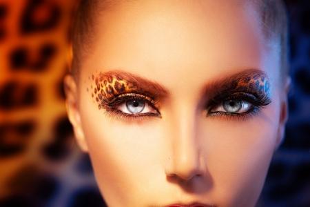 휴일 표범 메이크업 뷰티 패션 모델 소녀 스톡 콘텐츠