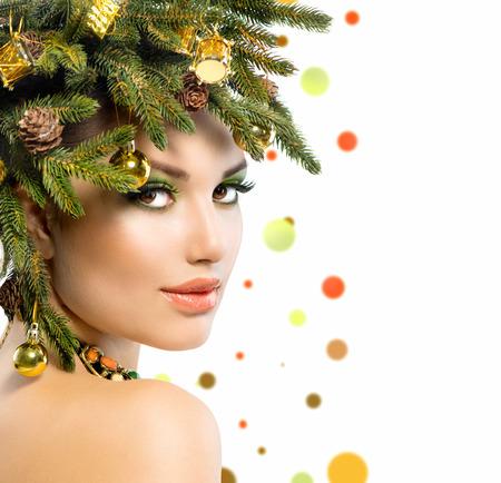 christmas manicure: Christmas Woman  Christmas Tree Holiday Hairstyle and Make up  Stock Photo