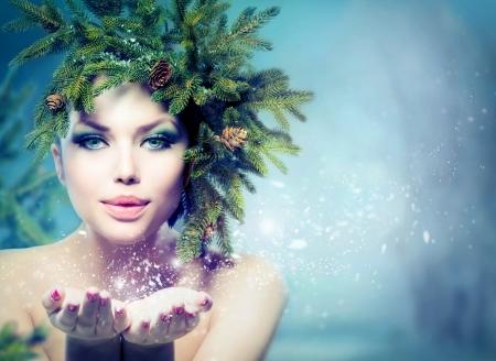 fille hiver: Hiver No�l Femme vacances Fille Poudrerie